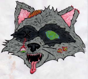 zombie raccoon 001